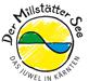 Der Millstätter See. Das Juwel in Kärnten. Logo - Lacul Millstaett Carinthia